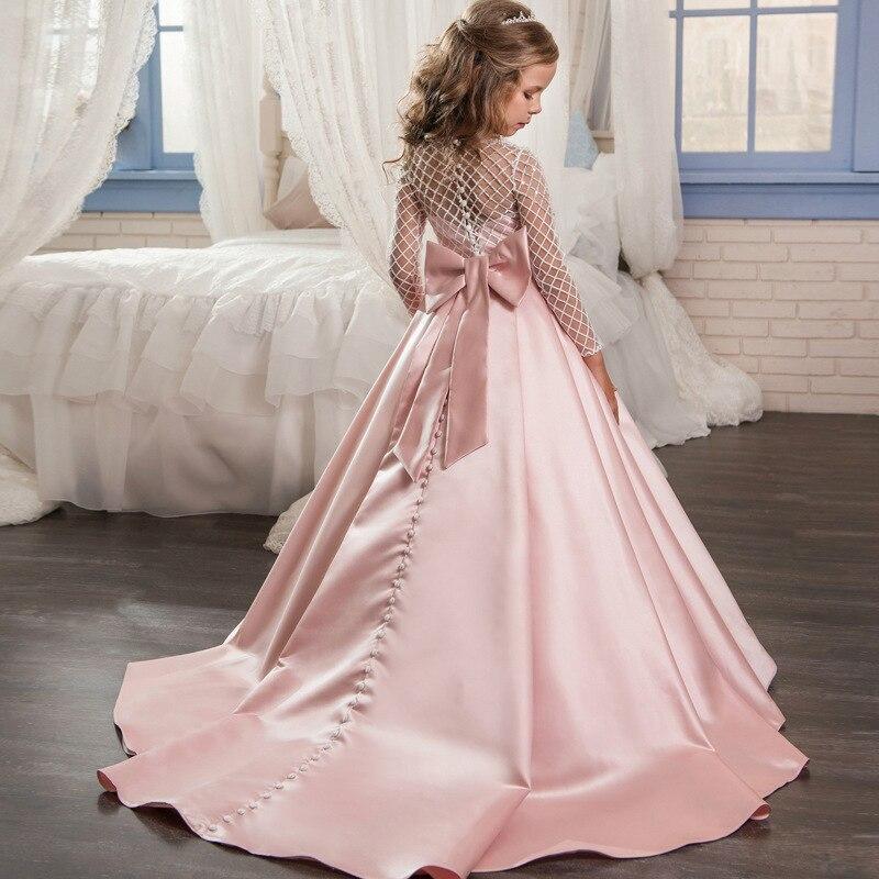 Robe de fille de fleur enfants dentelle Tutu robe creux de noël mariage fête d'anniversaire robes de fête grand arc robe enfants vêtements LJ100