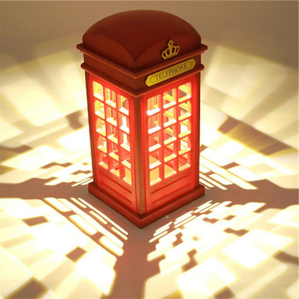 Hot Sale Adjustable Retro London Telephone Booth Night Light USB Battery Dual-Use LED Bedside Table Lamp