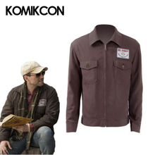 MR Robot Jacket Christian Slater FSOCIETY Brown Coat Cosplay Costume Halloween Zipper Jackets with Badge