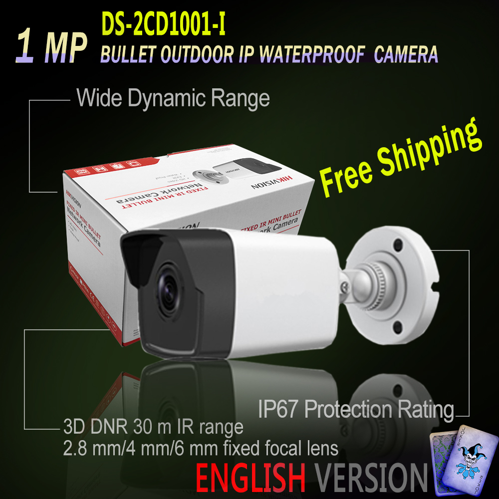 Free Shipping Hikvision DS-2CD1001-I Original English Oversea Version Replace DS-2CD2012-I 30m IR CCTV Secuirty Camera DWDR IP67  1001 совет по обустройству компьютера cd