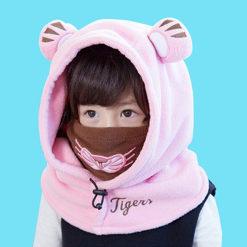 Cute Lovely Children Coral velvet Hooded Cap Kids Baby Winter Face Ski Mask Toddler Balaclava Hats Girls   Skullies     Beanies   hats