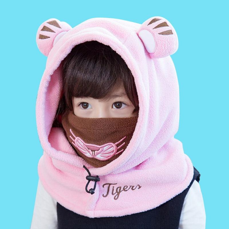 Cute Lovely Children Coral velvet Hooded Cap Kids Baby Winter Face Ski Mask Toddler Balaclava Hats Girls Skullies Beanies hats