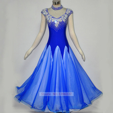 Ballroom Competition Dance Dress Women 2017 New Blue Stage Performance Ballroom Dancing Wear Waltz Tango Flamenco Dresses