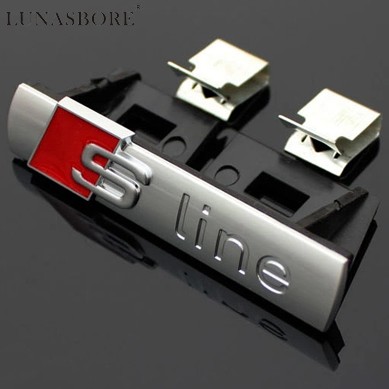 3D Metal S Line Sline Sticker Car Front Grille Adhesive Emblem Badge Accessories For Audi A1 A3 A4 B6 B8 B5 B7 A5 A6 C5