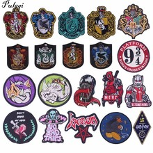 Pulaqi Diy Badge Patches Embroidered Iron-on Sew On Heat Transfers Anime Clothing For Bag Jeans Stripes Clothes Patch
