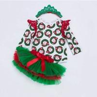 Xmas Newborn Baby Girls Clothes Santa Clause Printed Bodysuits Multi Layer Tutu Skirts Headband 3pcs Outfits
