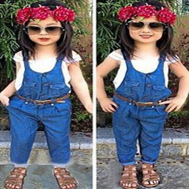 2015 del otoño del resorte muchachas de la venta caliente ropa de la camiseta + pantalones vaqueros del agujero 2 unids embroma juegos de la ropa ropa de los niños YAZ057F
