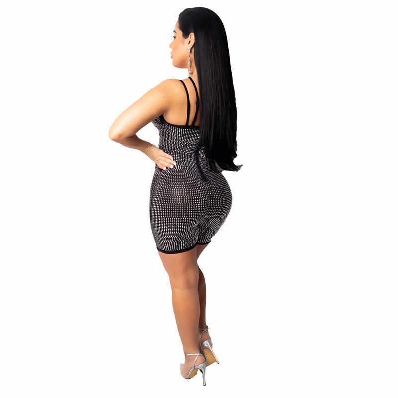 Для женщин сексуальные платья без рукавов с блестками комбинезон, шорты, пляжный костюм с вырезами спереди для ночного клуба вечерние блесток комбинезон Feminino