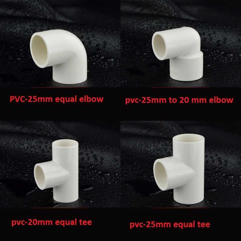 """20mm/25mm Tubo In Pvc Parti Etero Equal Gomito Tee Connettori di Accoppiamento 1/2 """"O 3/4"""" Femmina maschio A 20 millimetri Riducendo Tee Comune"""