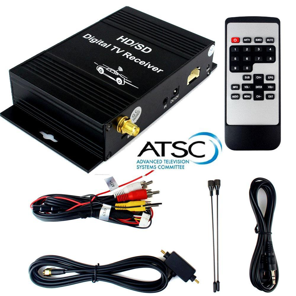 USA Canada Mixico Korea Car ATSC Digital Terrestrial Receiver TV Tuner with 4 Video Local FreeView HD/SD Channel On Car Display freesat v7 combo atsc powervu youtube dvb s2 atsc satelite receiver for united states mexico canada south korea atsc tv tuner