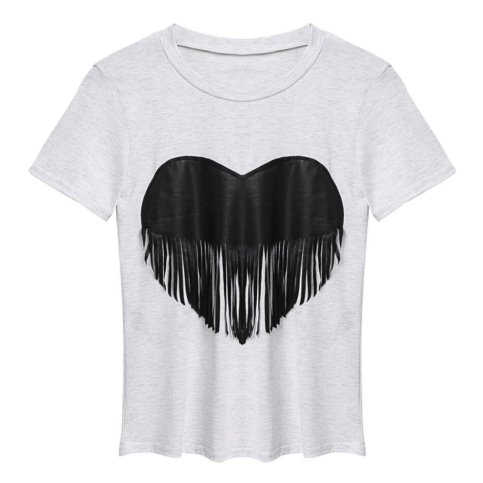 women heart print fringe decor t shirt tops basic tee short sleeve tassels shirts casual camisas. Black Bedroom Furniture Sets. Home Design Ideas