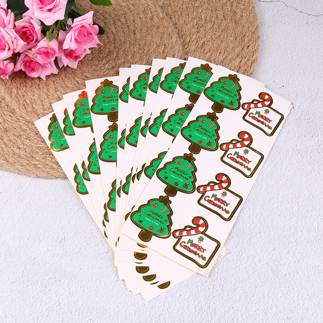 10 sheets christmas tree crutch sealing stickers diy gifts labels