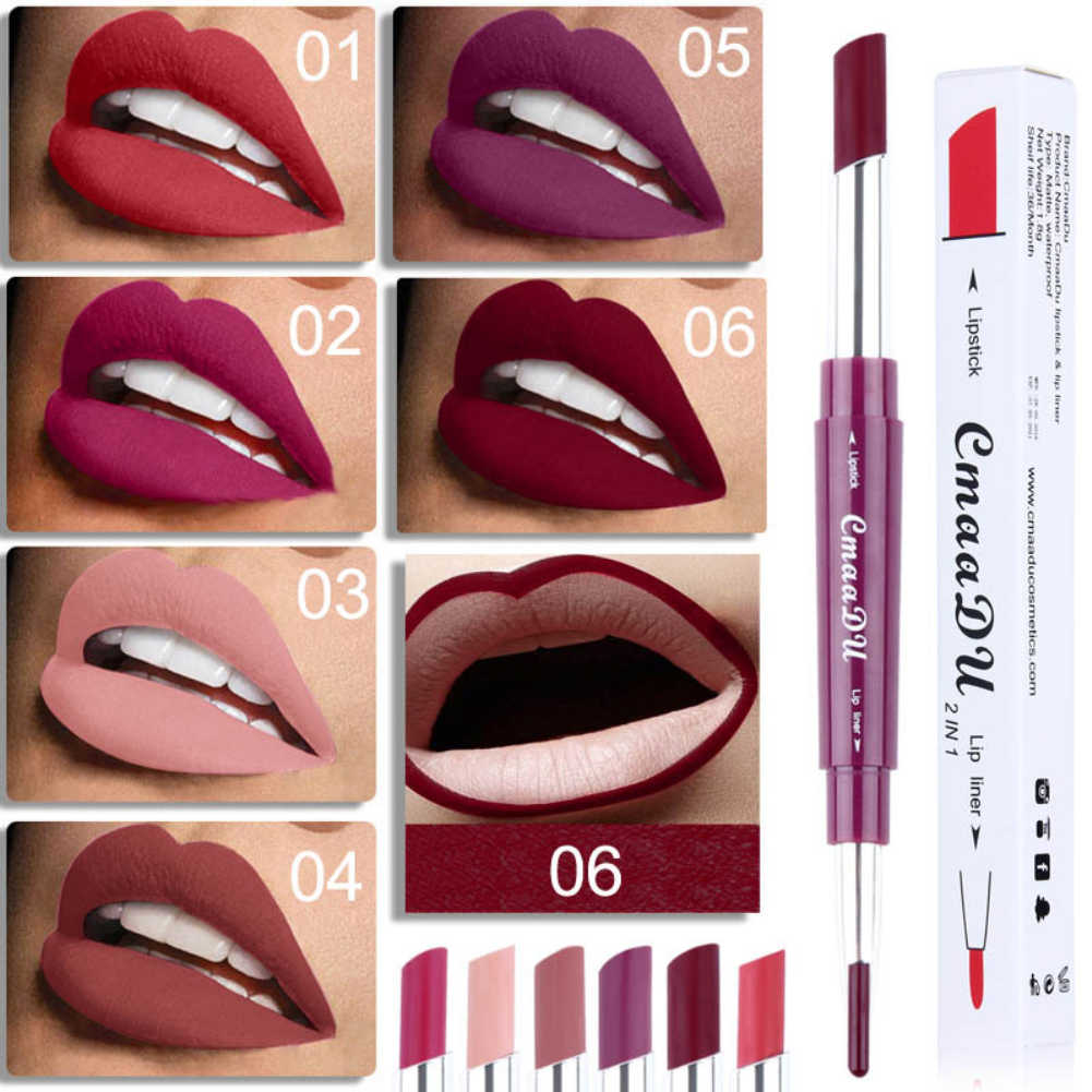 Cmaadu 1PCs Dual-end Lip Makeup 2 In 1 Matte Lipstick Pencil Waterproof Long-lasting Lipstick Tint Make Up Maquillage TSLM2