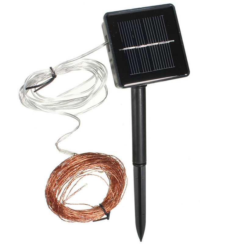 Outdoor Solar Copper Wire lights 10M 100leds Fairy Starry String ...