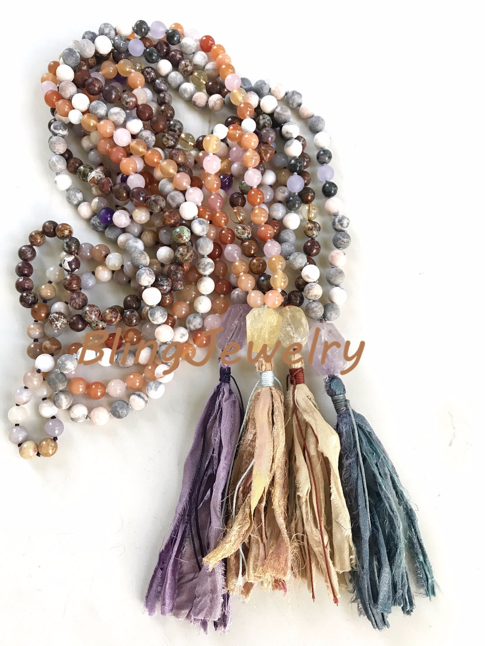 Knot Amethysts,Agates,African Opal or Pink Zebra Jaspers Necklace with Sari Silk Tassel N17082539 natural red coral with silk knot design necklace