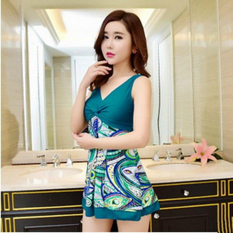 Swimwear Women One Piece Conservative Swimwear 2016 Swimsuit Shoulder Skirt Style Plus Size Swimwear Hot Sale