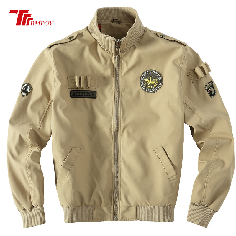 outlet store 1eb1a eeb6d US $52.09 10% OFF Mens Air Force Jackets Eagle Embroidery Pilot Jacket USA  Army Military Coats Blue Green Khaki Lrge Size mens bomber coat 2113-in ...