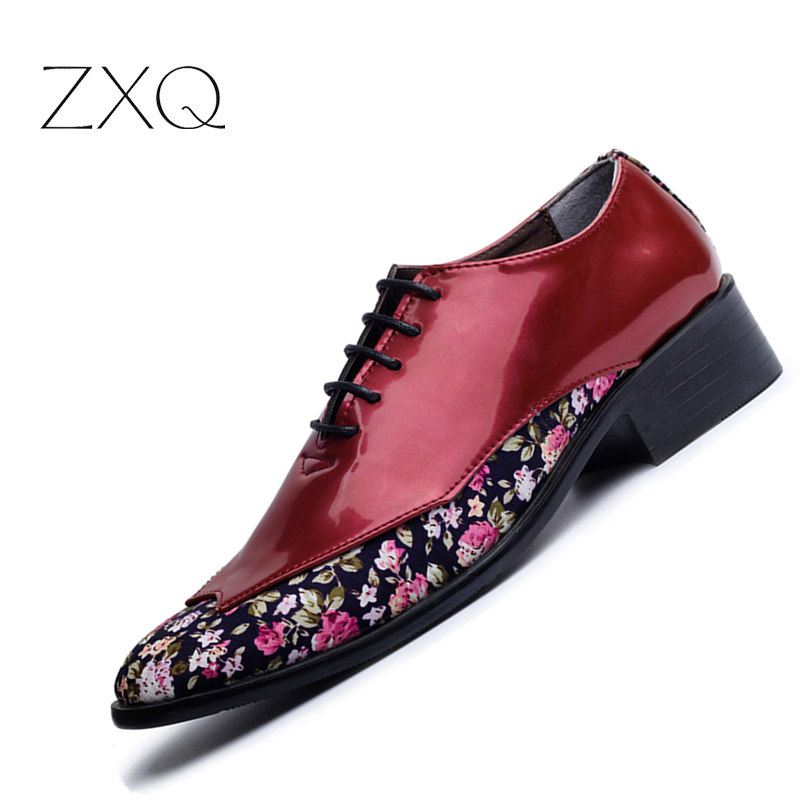 New 2017 Trend Fashion Pointed Toe Men Shoes Patent Leather Floral Pattern Oxfords Shoes For Men Party Shoes fashion small lattice and tiny floral pattern 6cm width tie for men