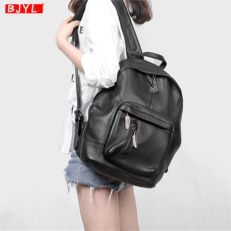 BJYL Soft Black Leather Women backpack top layer cowhide retro computer shoulder bag genuine leather retro travel backpacksBJYL Soft Black Leather Women backpack top layer cowhide retro computer shoulder bag genuine leather retro travel backpacks