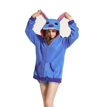 Blue Stitch Women Men Hoodie Animal Cartoon Jacket Cosplay Tracksuits Zipper Gardigan Sweatshirts(China)