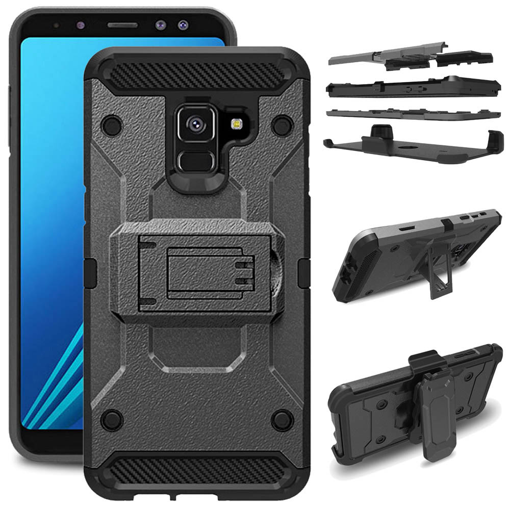 Heavy Duty Armor Case For Galaxy A8 2018 + Belt Clip Holster Protective Back <font><b>Cover</b></font> For <font><b>Samsung</b></font> Galaxy A8 2018/A5 2018 A530 <font><b>A530F</b></font> image