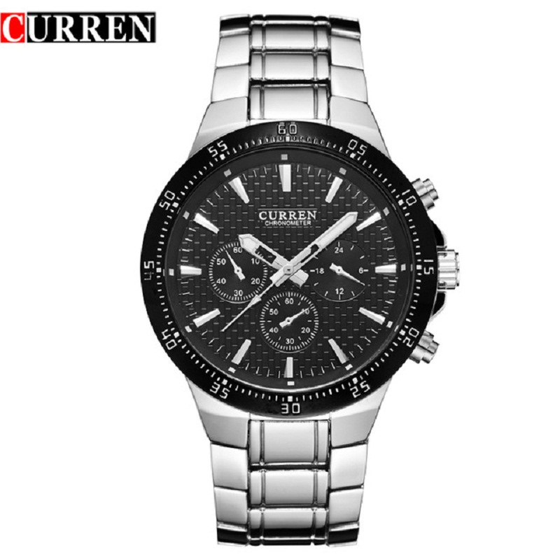 Men Watch Curren Brand Mens Watches Waterproof Stainless Steel Analog Quartz Wrist Watch Fashion Casual Business Male Clock 2017 weide fashion men gift business watches men luxury brand silver stainless steel band waterproof analog digital mens quartz watch