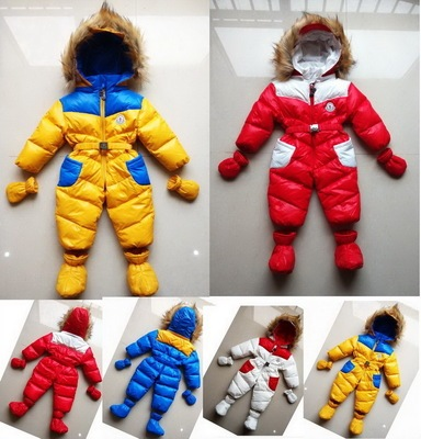 High Quality Baby Girl Boy down and parkas newborn snowsuit winter romper clothes thermal snowsuit rompers jumpsuit coveralls