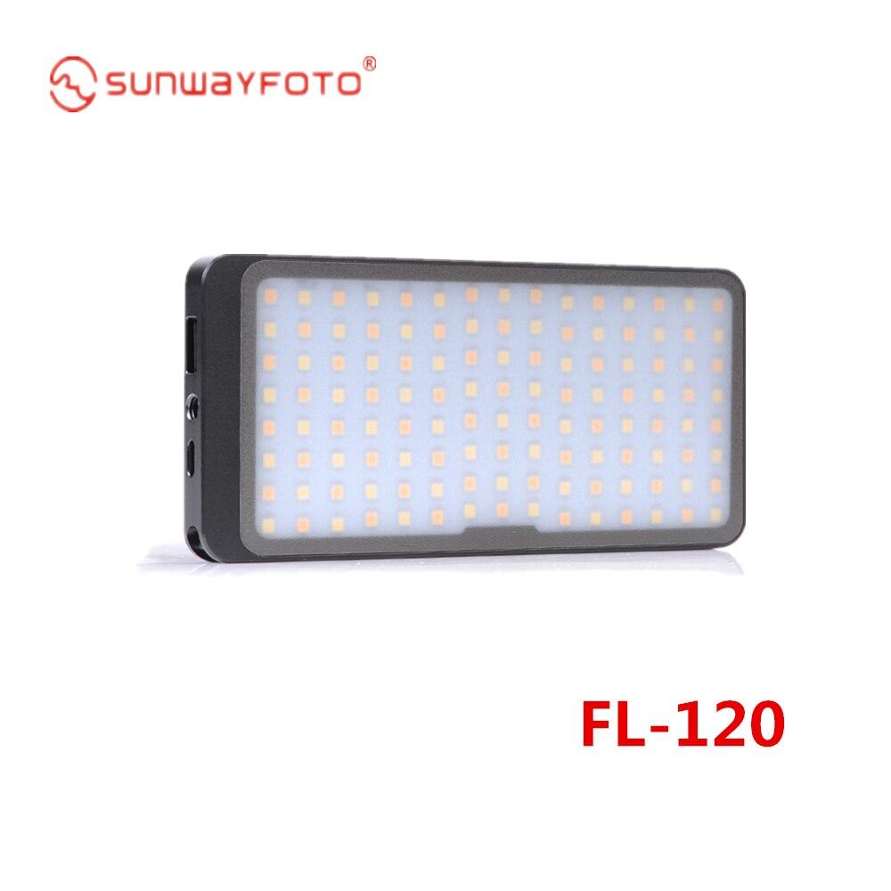 SUNWAYFOTO FL-120 светильник для фотографии цифровой дисплей, встроенный литиевый аккумулятор легко носить с собой для DSLR и телеобъектива