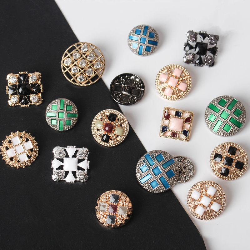 5pcs Fashion High-grade Metal Diamonds Buttons Children's Woolen  Overcoat Sweater Of Clothes Buttons Golden Decorative Buttons