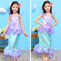 Summer Kids Girls Mermaid Princess Dresses Children Girls Cartoon Cosplay Party Dresses Halloween Costume Free Shipping 3-10Y