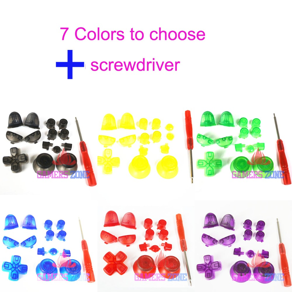 Clear Red Green Blue Purple  Yellow Black For PS4 Replacement Upgrade Buttons For Modded Controller For Dualshock 4