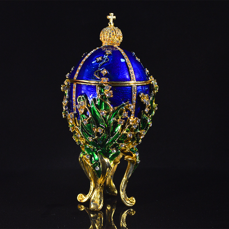 QIFU Royal Blue Faberge Egg Home Decor Metal Easter Egg