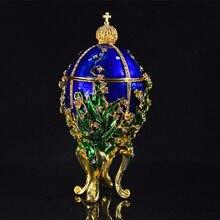 QIFU الملكي الأزرق قلادة على شكل بيضة من فابرجيه ديكور المنزل المعادن عيد الفصح البيض