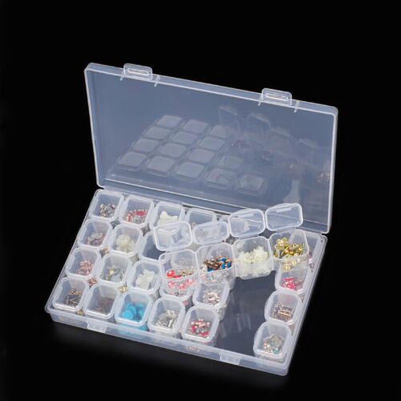Diamond Painting Kits 28 Slots Plastic Storage Box Rhinestone Tools Beads Storage Box Organizer Holder Kit