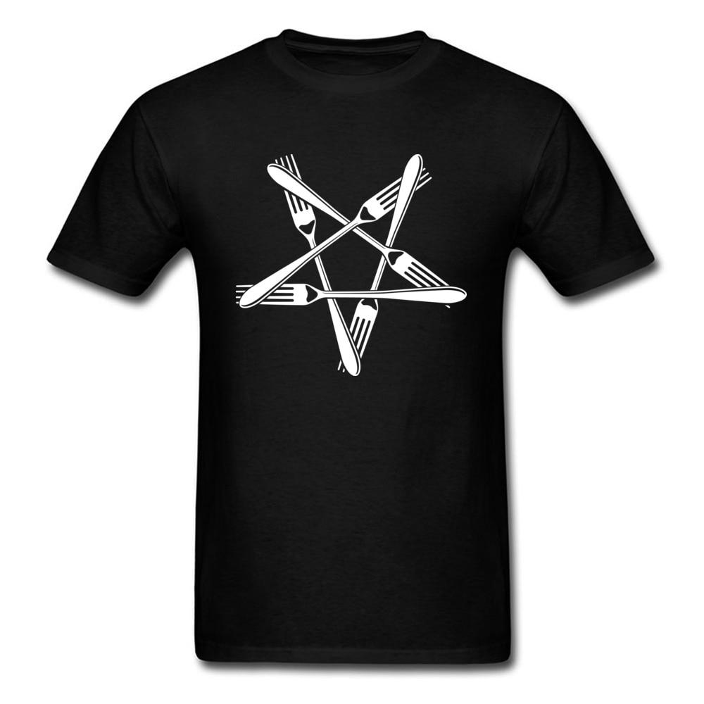 Fork Pentagram Graphic Student Tops T Shirt 2018 Custom Design O Neck Pure Cotton Short Sleeve Tee Shirts Top Quality Sweatshirt