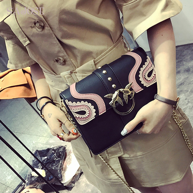 Rivet Chain Leather Bag