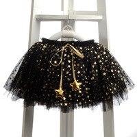 Perakende Moda Bebek Kız Etekler Aplikler Yıldız Büyümek Topu Kızlar etekler Sevimli Kız Giysi Lolita TUTU Mesh Tül jupe fille siyah