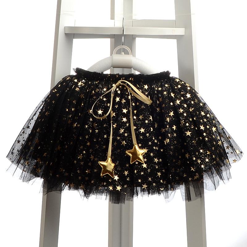 Mazumtirdzniecības modes bērnu meiteņu svārki Appliques Stars Grow Ball Meitenes Svārki Cute Girl Drēbes Lolita TUTU Mesh Tulle Jupe fille black
