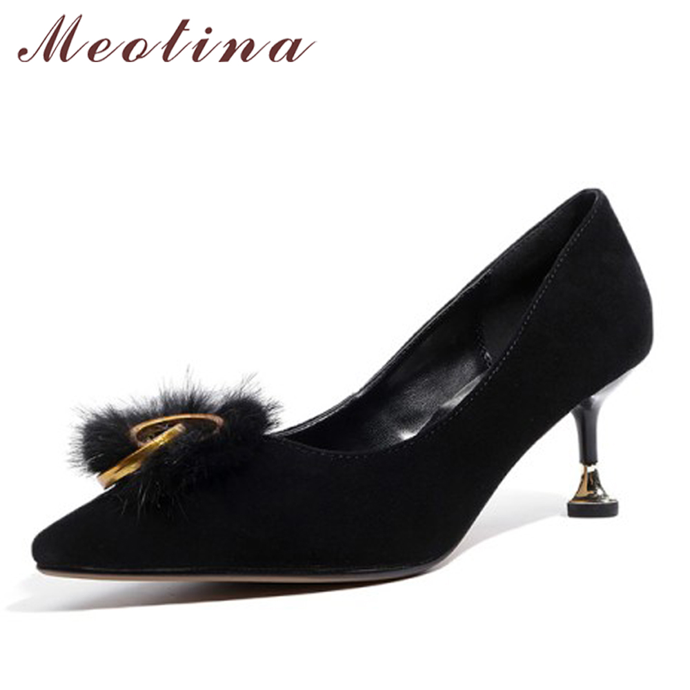 Meotina Genuine Leather Shoes Women Pumps High Heels Fur Pointed Toe Kid Suede Shoes Kitten Heel Ladies Party Shoes Size 34-39 meotina genuine leather women shoes female plaid party shoes block heel bow strap high heels kid suede ladies pumps 2018 spring