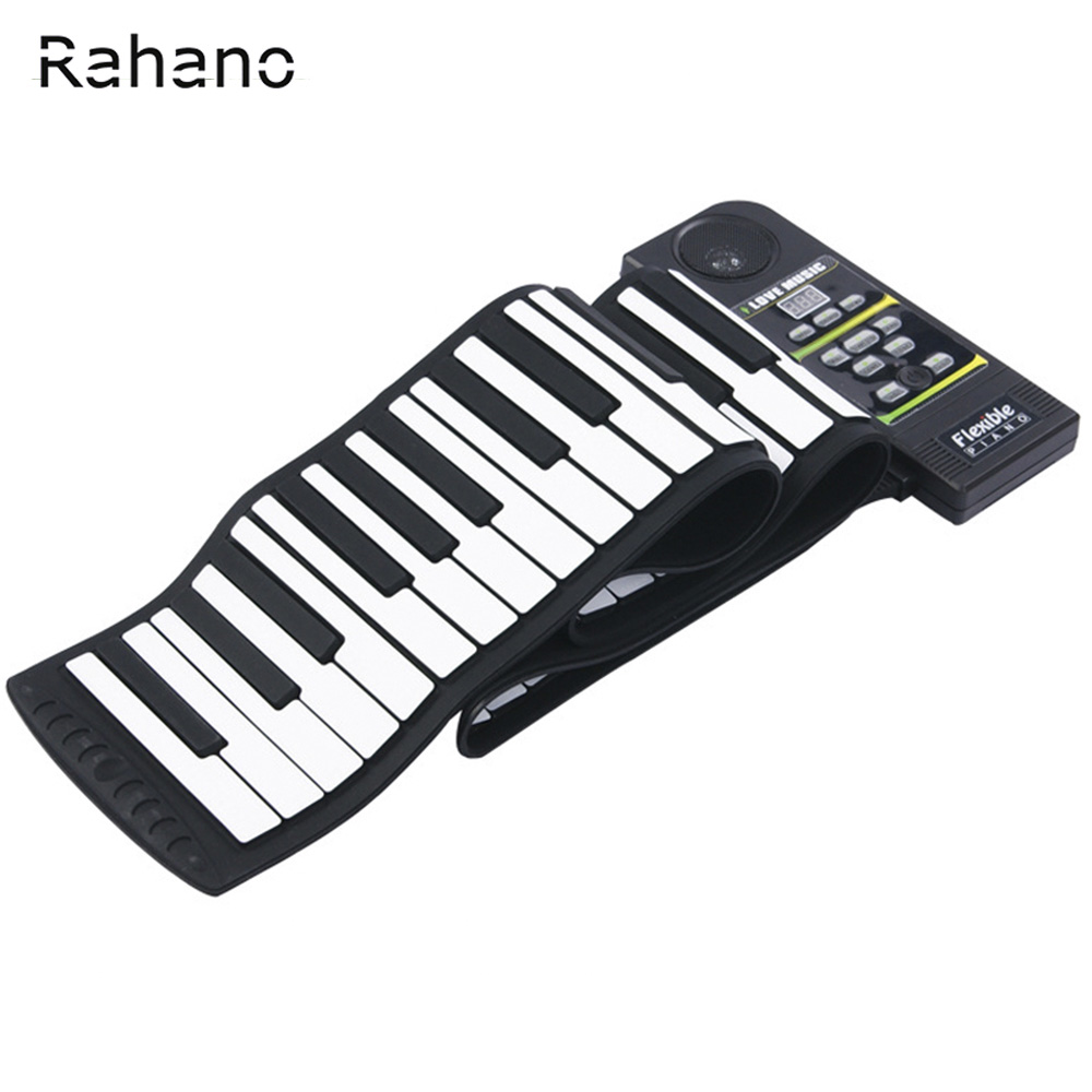 Rahano 88 Key Electronic Piano Keyboard Silicon Flexible Roll Up Piano with Loud Speaker Wish US Plug