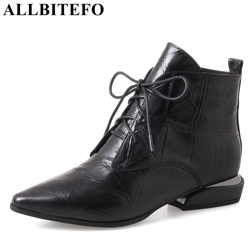 ALLBITEFO 2018 new winter genuine leather thick heel women boots brand high heels ankle boots martin boots botas femininas us size 5 11 women summer flats sandal shoes comfortable casual soft slip on flats slipper shoes