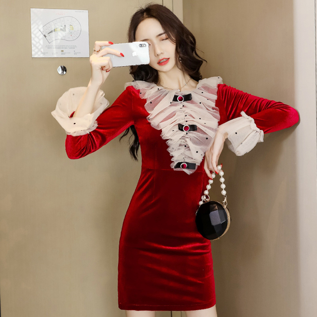 8f3a45139fe69 Lady Ruffled Collar Mesh Patchwork Flounce Dress Women Winter Long Sleeve  Red Velvet Dress Bodycon Slim Velour Dresses Vestidos