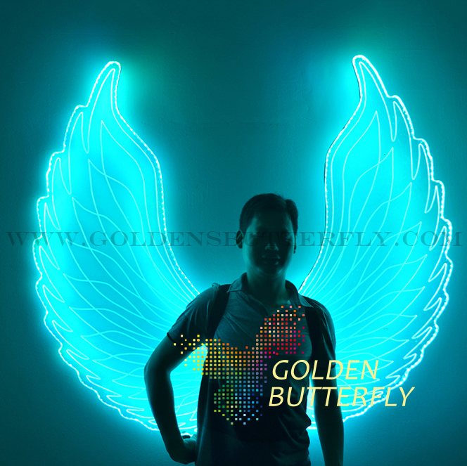 LED Luminous Wings Women Lady Angel Wings 2017 New Fashion Show Glowing Clothing Suits Dance Dress Accessories Wing Customizable