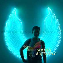 LED Luminous Wings Women Lady Angel Wings 2015 New Fashion Show Glowing Clothing Suits Dance Dress Accessories Wing Customizable