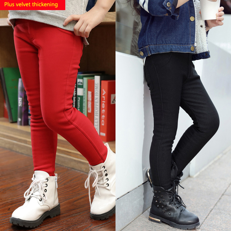 Girl Plus velvet thickening pant 2018 Girls Winter Warm Stretch Elastic Pants Girl Skinny Pant Children Imitation jeans Trousers new thick warm winter jeans women skinny stretched denim jean pant plus size casual office lady pencil pants cheap clothes xxxxl
