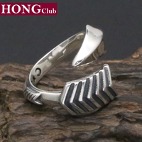 HONGClUB Ring 100 Real 925 Sterling Silver Bow Arrow Fashion Adjustable Engagement Ring Women Men Jewelry