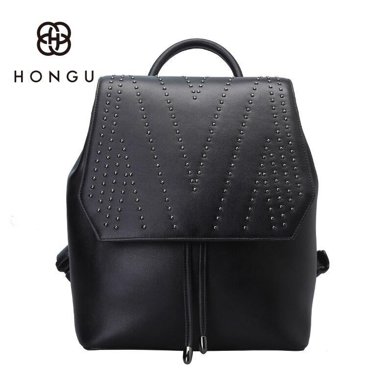 Hongu Genuine Leather Women Luxury Cover Backpack Famous Brands Girls school Killer bags Leisures travel Bags mochila feminina