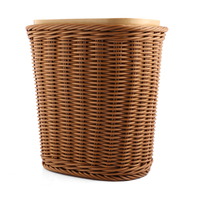 Small Size Imitated Rattan Weaving Plastic Trash Can Household Office Kitchen Decor Garbage Bin Wastebasket Without Lid