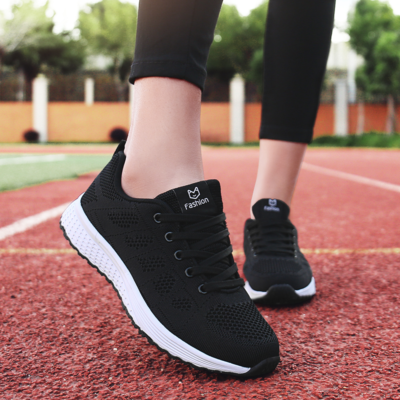 Women Casual Shoes Fashion Breathable Walking Mesh Lace Up Flat Shoes Sneakers Women 2018 Tenis Feminino Pink Black White(China)