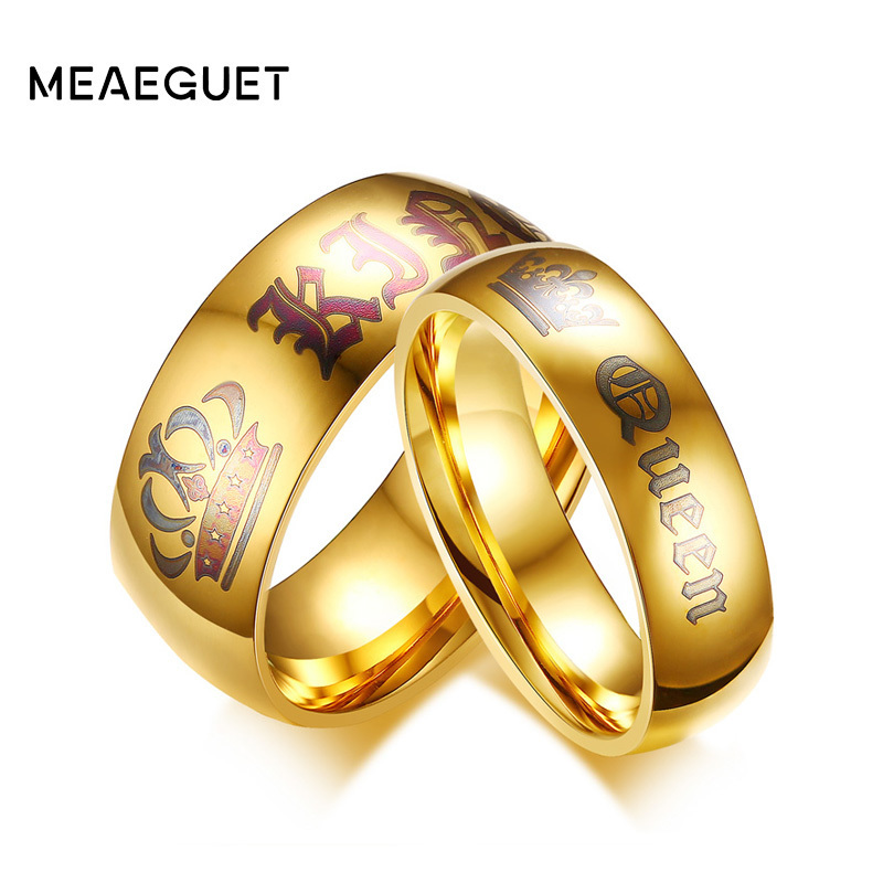 Meaeguet Couple Wedding Ring Queen and King Gold-color Stainless Steel Personalized Engagement Jewelry ...